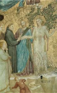 parente di giotto sposalizio di san francesco con la povertà 1316-1318 volta nella basilica inferiore di Assisi