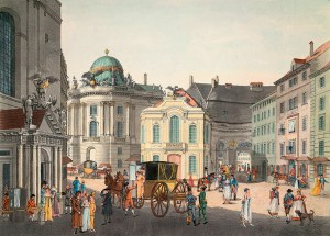5OE-W1-F5-1800 Wien, Michaeltrakt mit Hoftheater /Postl Wien (Oesterreich), Hofburg / Michaelertrakt (1720-30 erbaut nach Entwurf von Johann Bernhard Fischer von Erlach). - 'Der Michaelsplatz gegen die K.K. Burg'. (Links St. Michaels-Kirche, in der Mitte das Alte Hoftheater). - Aquatinta, koloriert, um 1800, von Karl Postl (1769-1818) nach Karl Schuetz. E: Vienna / St.Michael's Square / Aquatint Vienna, Hofburg / Michaelertrakt (built 1720-30 after designs by Johann Bernhard Fischer von Erlach). - 'St.Michael's Square seen against the Hofburg'. (left: St. Michael's church, middle: the old Hoftheater). - Aquatint, coloured, c.1800, by Karl Postl (1769-1818) after Karl Schuetz. F: Vienne, palais imperial de la Hofbourg / Vienne, palais imperial de la Hofbourg /  aile Michael (constr. 1720-30 d'ap. dessins de Johann Bernhard Fischer von Erlach). - 'La place Saint-Michael vue du palais imperial'. (A g. : l'eglise Saint- Michael , au centre : l'ancien theatre de la cour). - Aquatinte, coloree, v. 1800, de Karl