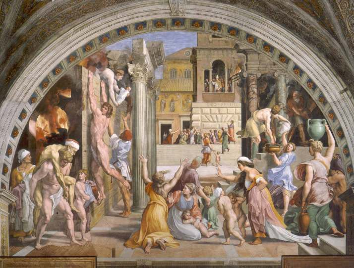 raphael - The Fire in the Borgo. 1514. Fresco. width at base- 670 cm. Stanza dell Incendio di Borgo, Palazzi Pontifici, Vatican